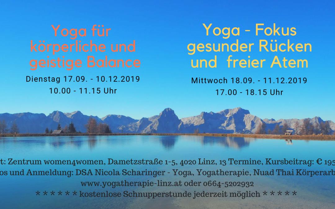 Aktuelle Yogakurse in Linz – Herbst 2019